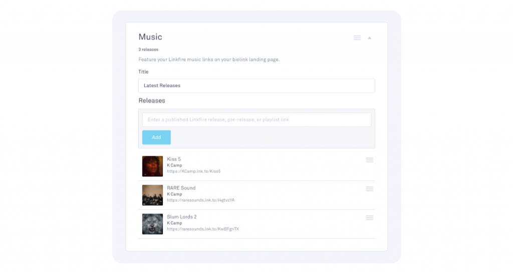 Customization of the music tile on biolink