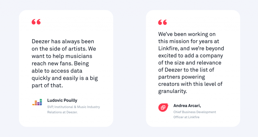 Quote from Deezer and Linkfire