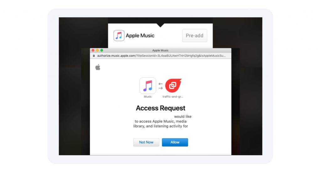 Apple Music pre save pop up window