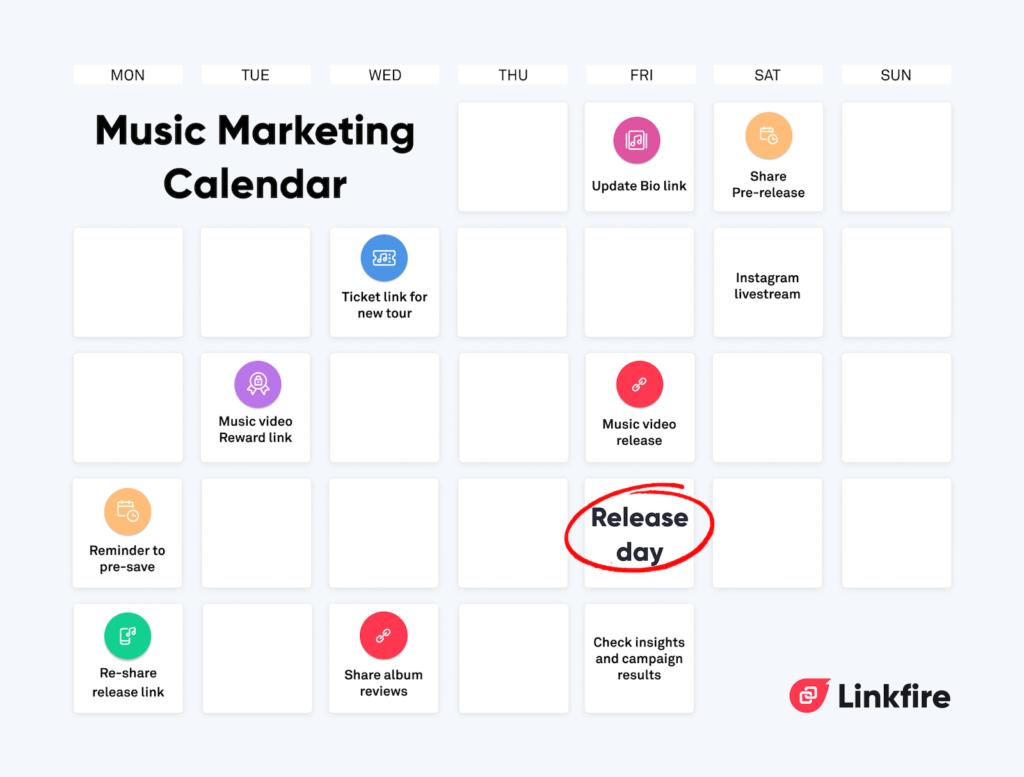music release plan marketing calendar